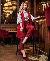 Женский брючный костюм-тройка с жилеткой и блузой батал, фото 1