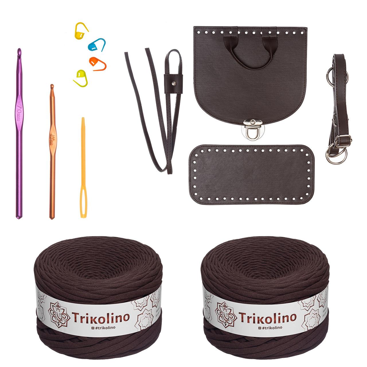Набір для рюкзака екокожа Шоколад МАКСІ (10 позицій-Шоколад) фурнітура срібло