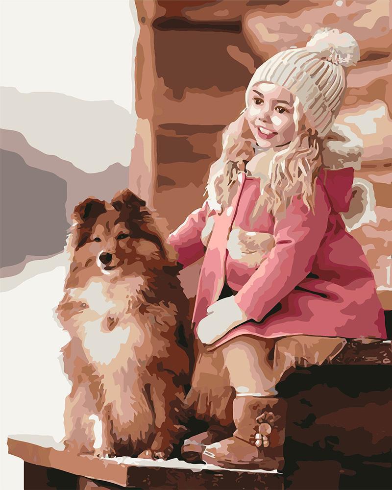 Картина рисование по номерам Идейка Прогулка с собачкой KH2342 40х50 см Дети на картине набор для росписи