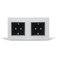 Розетка двойная с заземлением Livolo, черная/белая, хром, стекло (VL-C7C2EU-12/11C)