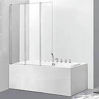 Скляна шторка для ванни AVKO Glass 542-3 120х140 см перегородка для ванної, фото 1