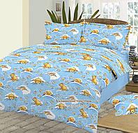 Комплект постельного белья для новорожденных  в детскую кроватку  Мишки на синем