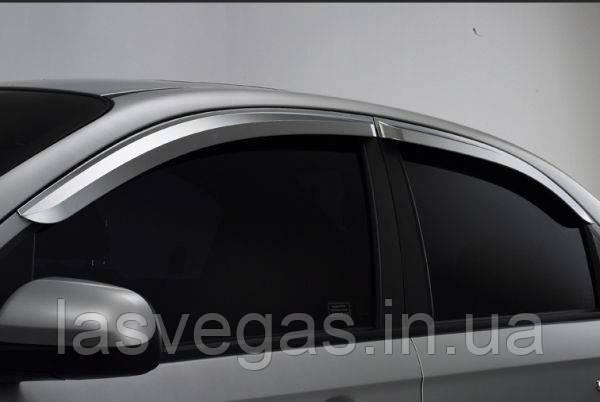 Вітровики, дефлектори вікон Chevrolet Aveo 3 Хромовані 2005-