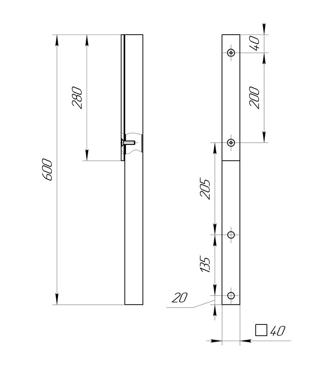 ODF-02-13-21-H600 Стойка ограждений с боковым креплением и прижимной пластиной для перил из стекла, черная