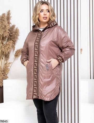 Куртка жіноча легка подовжена з капюшоном розміри: 48-58, фото 2