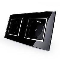 Розетка двойная с заземлением Livolo, цвет черный хром, материал стекло (VL-C7C2EU-12C)