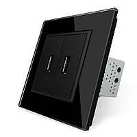 Двойная USB розетка Livolo с блоком питания 2.1А, 5V, цвет черный (VL-C792U-12)