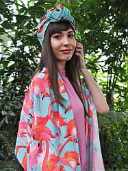 """Яркий летний набор """"Фламинго"""" my scarf ( большой шелковый шарф+тюрбан)"""