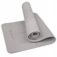 Коврик (мат) для йоги и фитнеса Springos TPE 6 мм YG0017 Grey