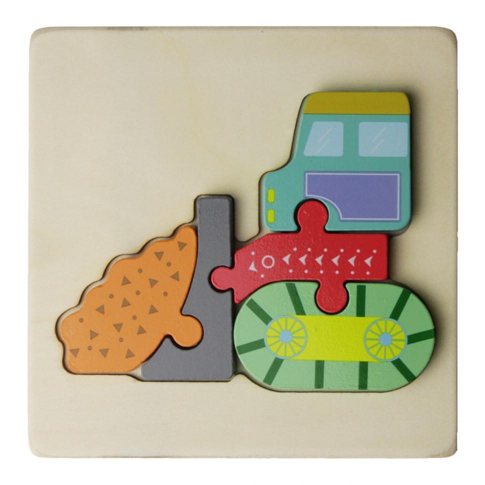 Деревянная игрушка Пазлы MD 2495 (Бульдозер)