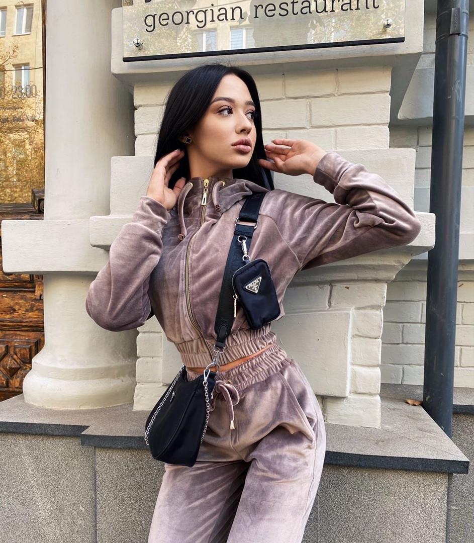 Жіночий стильний велюровий костюм в кольорах (Норма і батал)