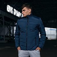 Модная мужская осенняя куртка без капюшона синяя, демисезонная мужская куртка из плащевки