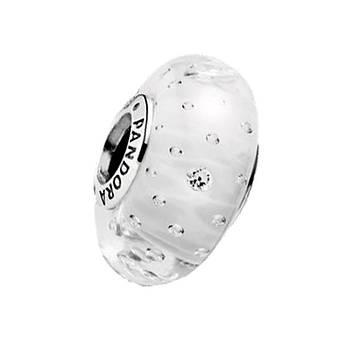 """Серебряный шарм Pandora """"Белый мурано"""" 791617CZ"""