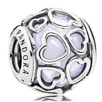 """Серебряный шарм Pandora """"Белые ажурные сердца"""" 792036NOW"""
