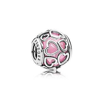 Серебряный шарм Pandora «Розовые ажурные сердца» 792036PCZ