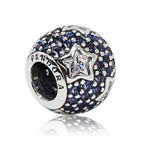 """Срібна намистина Pandora """"Сині зірки"""" 791382CZ"""