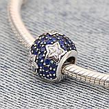 """Срібна намистина Pandora """"Сині зірки"""" 791382CZ, фото 3"""