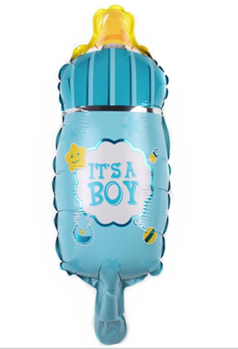 Фольгированный шар мини-фигура бутылочка голубая 22х43см Китай
