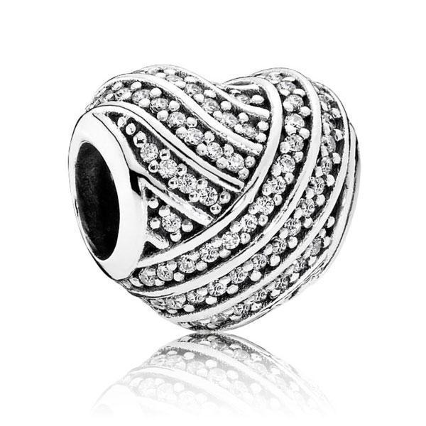 """Срібна намистина Pandora """"Лінії кохання"""" 791885CZ"""