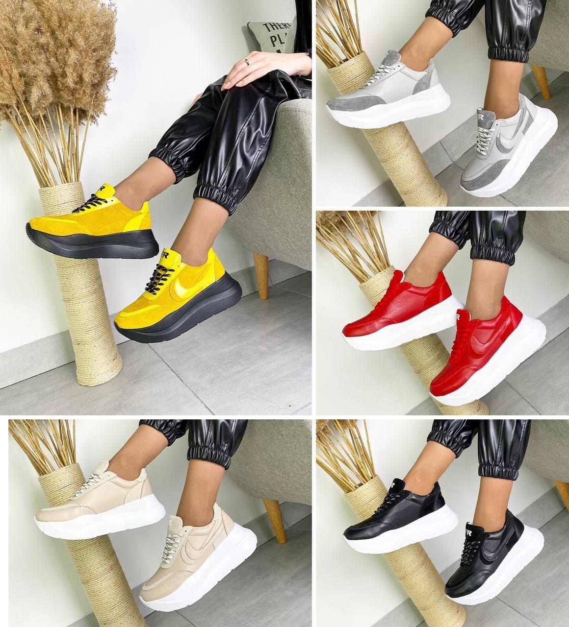 Женские кроссовки на платформе в разных цветах 3422