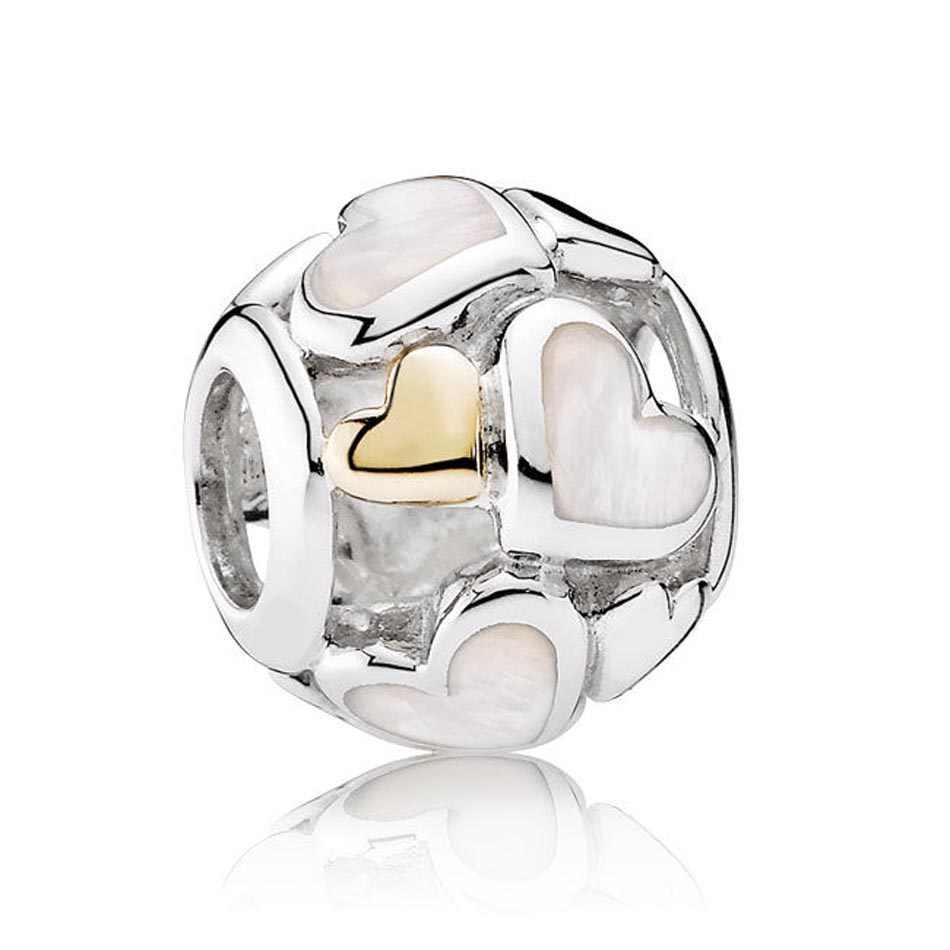 """Срібна намистина Pandora """"Ажурні яскраві серця"""""""