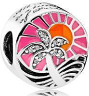"""Срібна намистина Pandora """"Тропічний захід сонця"""" 792116ENMX"""