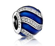 Срібна намистина Pandora «Синя витонченість» 791991EN118