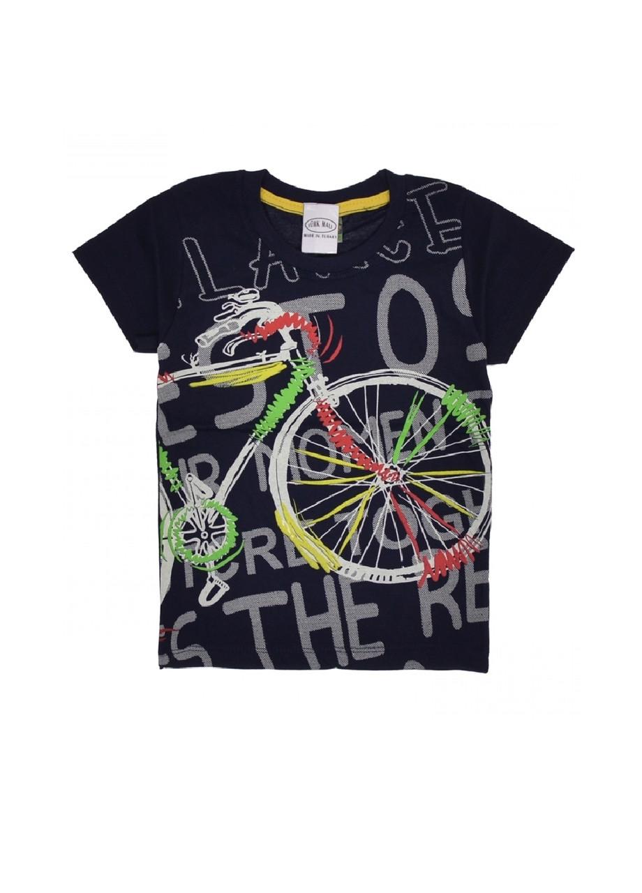 Футболка мальчикам с велосипедом темно-синяя