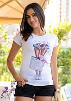 """Стильная футболка с принтом """"Bouquet"""", фото 1"""