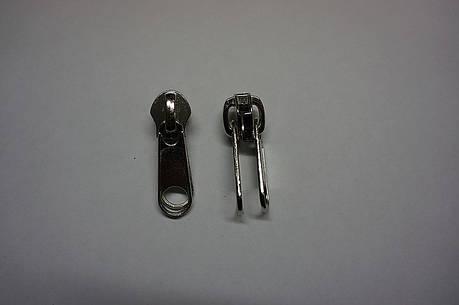 Бегунок для спиральной  молнии №10 двухсторонний цвет никель (Турция), фото 2
