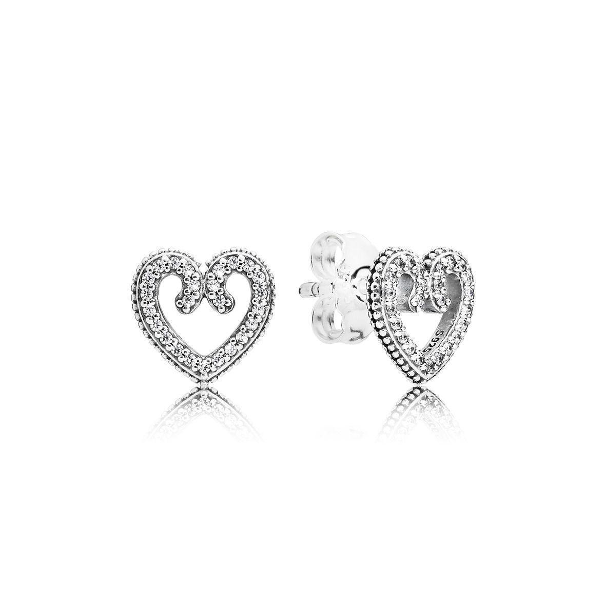 """Срібні сережки Pandora """"Ажурні серця"""" 297099CZ"""