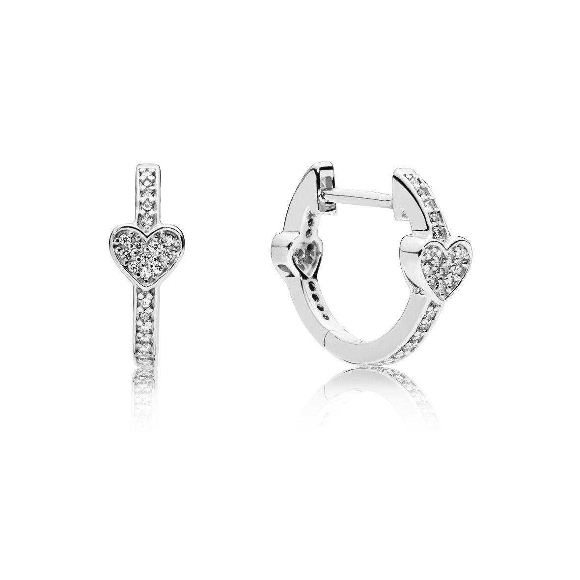 """Срібні сережки Pandora """"Звабливі серця"""" 297290CZ"""