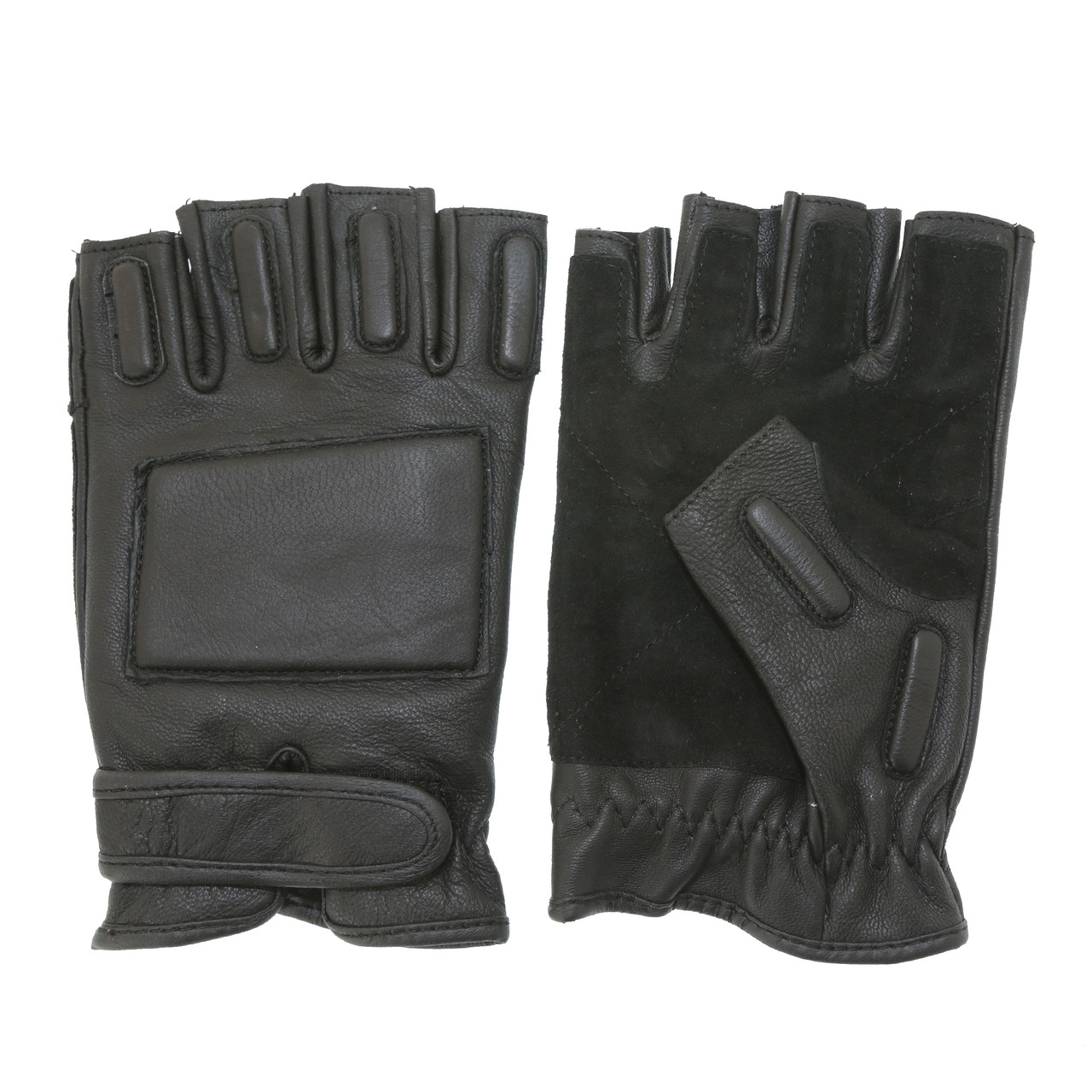 Рукавички чорні охоронця шкіряні без пальців MIL-TEC Black, 12515002