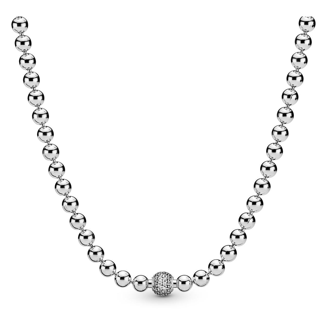 """Серебряные бусы Pandora """"Бусы и Pave"""" 398565C01"""