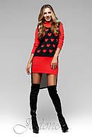 Короткое красное платье из ангоры Мальта ТМ Жадон 42-50 размеры Jadone