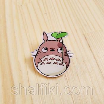 """""""Мой сосед Тоторо с листиком / My neighbor Totoro"""" брошь акриловая"""