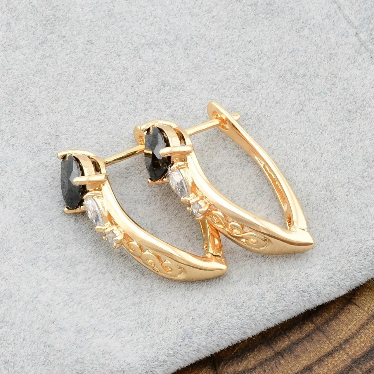 Сережки жіночі позолочені Xuping з чорними фіанітами