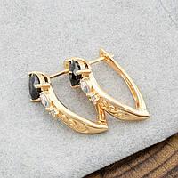 Сережки жіночі позолочені Xuping з чорними фіанітами, фото 1