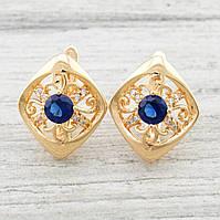 Серьги женские позолоченны Xuping Французский Алмаз синие фианиты вес 3.4 г позолота 18К