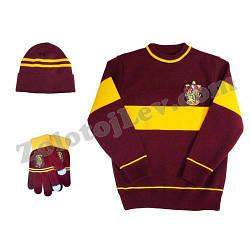 Набор Гриффиндор свитер перчатки шапка