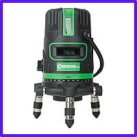 Рівень лазерний Intertool - 5 лазерних головок, звукова індикація, зелений лазер. Рівень будівельний лазер