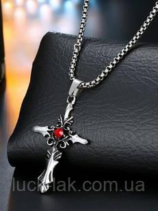 Кулон, крест с красным камнем, фэнтези