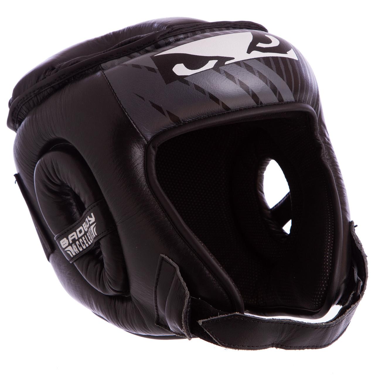 Шлем боксерский открытый с усиленной защитой макушки кожаный черный BAD BOY BD09