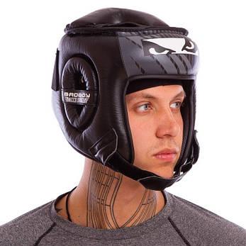 Шлем боксерский открытый с усиленной защитой макушки кожаный черный BAD BOY BD09, фото 2