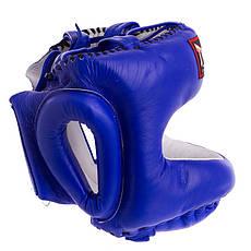 Боксерский шлем с бампером кожаный синий TWINS (СКИДКА НА р. M) HGL-10 OF, фото 2