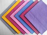 Кусочек хлопковой ткани для рукоделия Сетка фиолетовая, ромбы. Размер отреза 50*50 см, фото 2