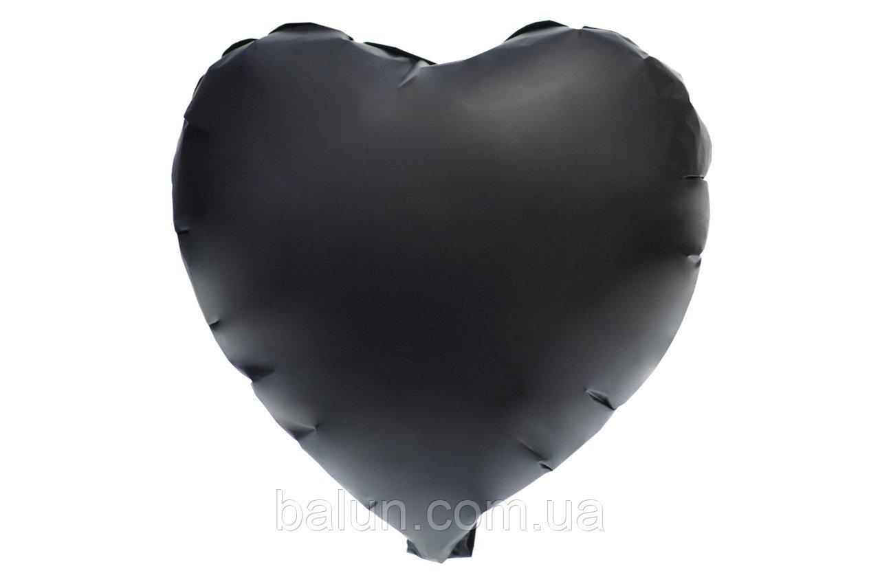 Серце сатин (Чорний) 43*43
