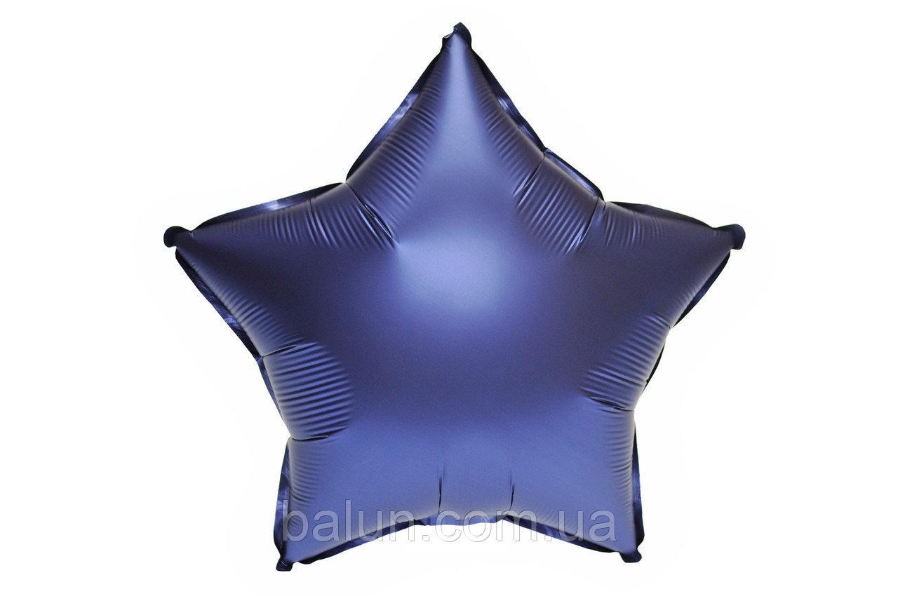 """Фольгована зірка сатин (Темно синій) 18""""(45см)"""