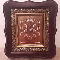 Икона Богородичное дерево, лик 10х12 см, в темном деревянном киоте.
