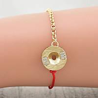 Жіночий браслет Xuping з червоною ниткою 17 + 3 см ширина 12 мм позолочений